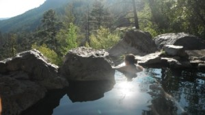 Enjoying the post-climb hot springs