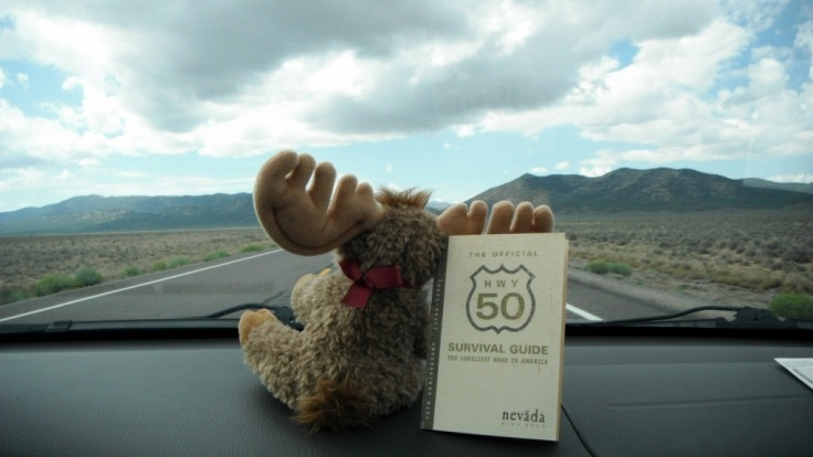 Murray the Moose heads along Highway 50