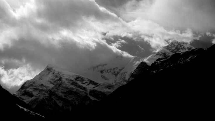 Storm swirling over Annapurna
