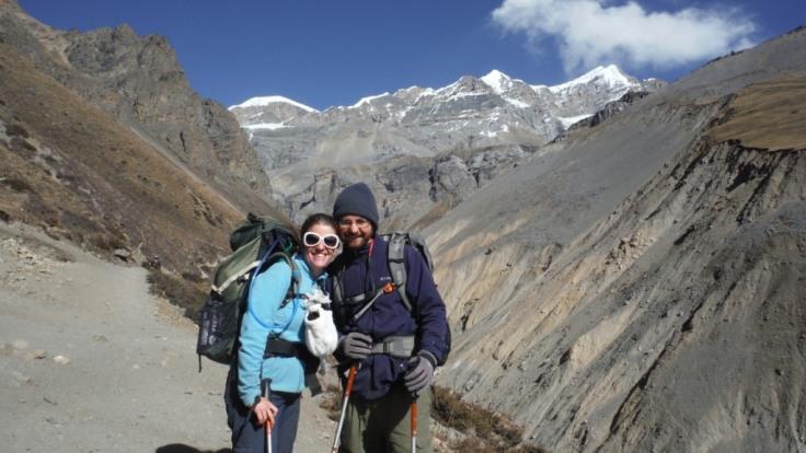 Hana and me, at 14,500 feet--still smiling!